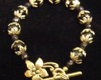 Sophisticated Elegant Black and Silver Toggle Bracelet