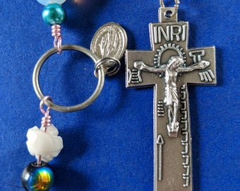 Irish penal Rosary with moonstones, a do-dad and buddha