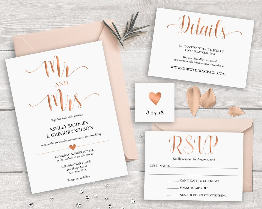 SALE 30% OFF Rose Gold Wedding Invitation Suite Template