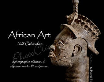 African Art - 2018 Monthly Calendar - Compact Planner 5x5 or 8x8 / Unique collection of African masks & sculptures / Fine Art Photography
