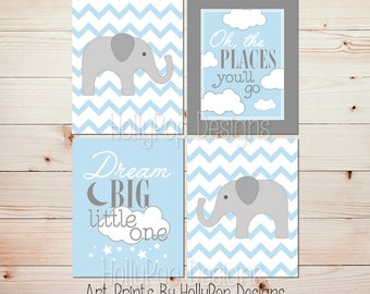Baby wall prints Baby elephant art Nursery decor boy Blue gray nursery prints Boy nursery quotes Oh the places Dream big little man #1650