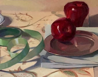 "Fine Art painting still life ""Green Loops"" 10x20"" original oil on canvas by Sarah Sedwick"