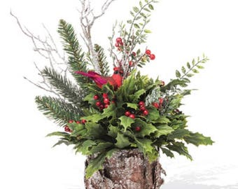 Rustic Holly & Berry Centerpiece