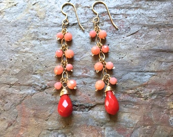Coral gemstone gold dangle statement earrings