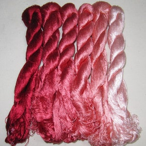 6 skeins Chinese natural mulberry silk embroidery threads floss 440m per skein 114#