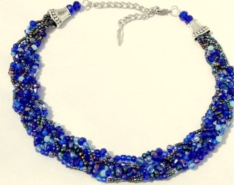 SALE, FREE matching earrings! Blue statement necklace, cobalt blue braided choker, handmade jewelry, multistrand, beaded, crystal