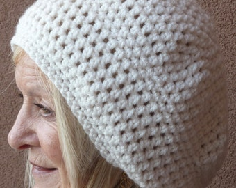 White crochet hat made for style and warmth, a comfortable women's winter hat that's slightly slouchy, gift for her