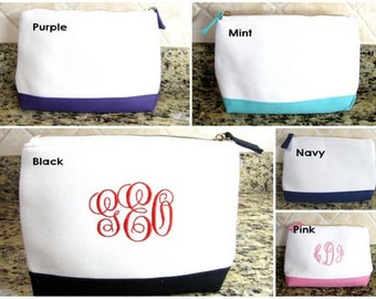 Monogrammed Toiletry Bag  Monogram Personalized Cosmetic Makeup Bag, Canvas Cosmetic Bag, Bridesmaid Gift, Teacher  Gift Bachelorette  gift