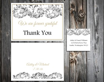 Lace and Burlap Rustic Theme 100 Wedding Thank You Notes