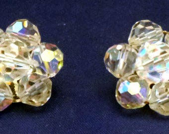 Vintage Aurora Borealis Clip On Earrings, 1950s