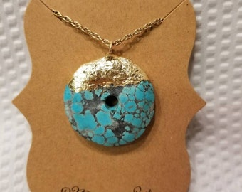 Gold leafed turquoise necklace