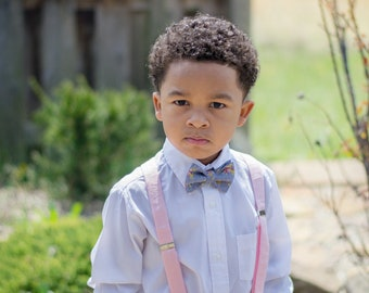 Wedding Suspenders for Kids - Baby Bow Tie Outfit for Boys - Baby Suspenders in Pink  - Little Boys Suspenders -  Pink Suspenders for Boys