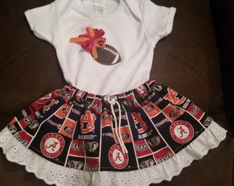 House Divided Alabama/Auburn inspired girls skirt set
