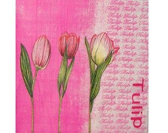 PLA025 flowers red tulips napkin