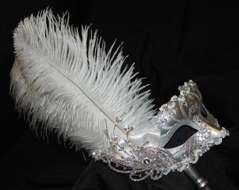 White and Silver Venetian Masquerade Bridal Mask