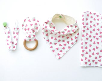 Baby Gift Set - Bibdana, Burp Cloth, Pacifier Clip + Teething Ring | Watermelon Print | Baby Gifts | Baby Gift | Gender Neutral Baby
