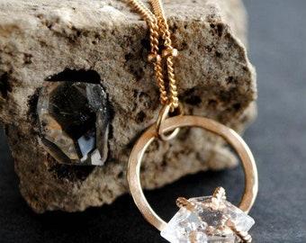 Herkimer Diamond Necklace - Circle Necklace - Raw Crystal Necklace - Raw Stone Necklace - Gemstone Necklace - Inspirational Jewelry