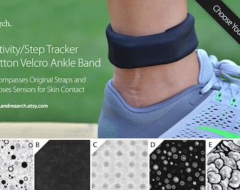 Black and White Print Activity/Step Tracker 100% Cotton Ankle Band – Encompasses Original Straps and Exposes Sensors for Skin Contact