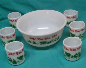 Vintage Retro Hazel Atlas 7 Piece Eggnog Mug and Bowl Set