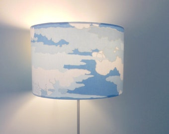 Handmade Drum Cylinder Cloud Sky Birds Lampshade // Table Ceiling Metallic Gold Silver Vintage 20 30 40 70 Empire Coolie Square Candleclip