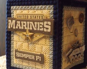 United States Marines /  Blue & Ivory  -  Tissue box cover - handmade - plastic canvas - boutique size