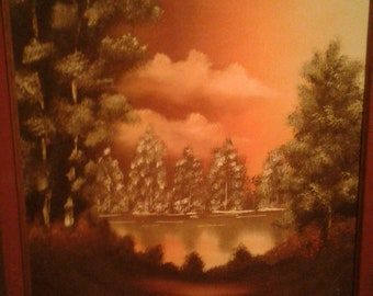 Vintage Oil on Canvas/Not Signed/ Sunset/ Trees/ Pond/ Lake/ Clouds