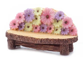 "Bench with Flowers, 4.4"" x 1.75"" x 2.5"" - Resin - Miniature Fairy Garden Dollhouse"