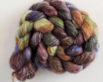BFL Leinen,Fairy Sunset, speckled,handbemalte Fasern zum Spinnen,120g Kammzug