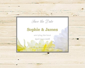 Personalised Save the Date Printable - Yellow & Grey Floral