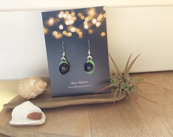 Fused glass earrings black and Green on sterling silver hooks