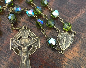 Bronze Celtic Crucifix Catholic Rosary and Miraculous Medal center with Swarovski Crystals