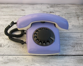 Vintage Purple Rotary Phone Spektr-3 - Working condition - Made in USSR