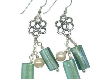 Roman glass Beads Earrings, Roman Glass Jewelry, Beads Earrings, silver Flower Earrings, Roman Glass Dangle Earrings, Artisan Earrings