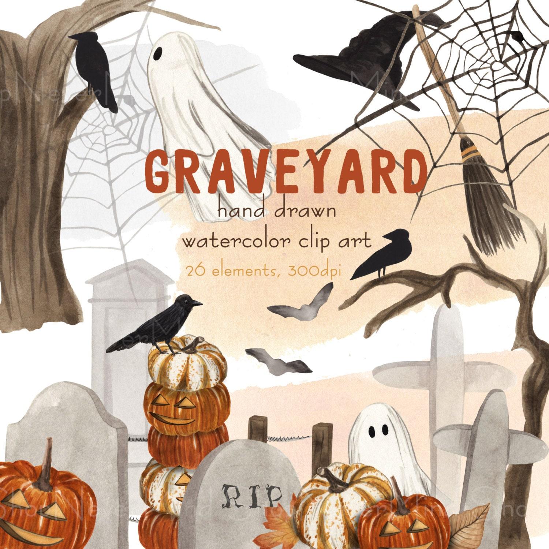 Halloween clipart watercolor graveyard halloween clip art