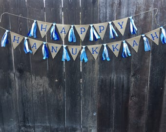 Happy Hanukkah Banner, Holiday Banner, Burlap Banner, Rag Tie Banner, Home Decor, Party Decor
