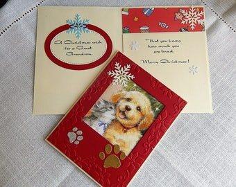 Handmade Christmas Card: grandson, dog, cat, paw prints, red, gold, complete card, handmade, balsampondsdesign