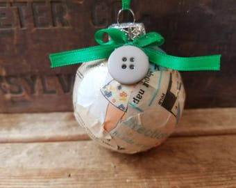Sewing ornament, vintage button ornament, vintage sewing pattern Christmas ornament, Sewing gift