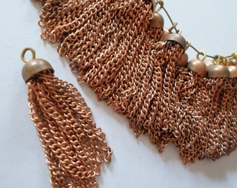 Vintage Copper Metal Dangle Findings -  Lots Of Chains