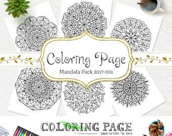 SALE Coloring Page Doodle Mandala Pack Printable Adult Coloring Book Adult AntiStress Therapy Instant Download Coloring Pages Printable Art