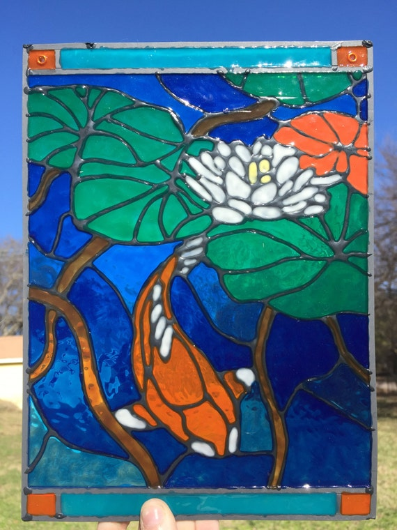 Items similar to sale koi fish in pond stained glass for Koi pond glass