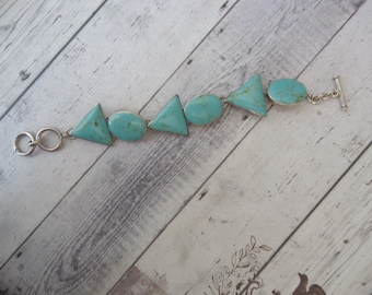 Vintage Heavy Sterling Silver and Turquoise Round and Triangle Link Bracelet w/ Adjustable Toggle Clasp, 46 Grams