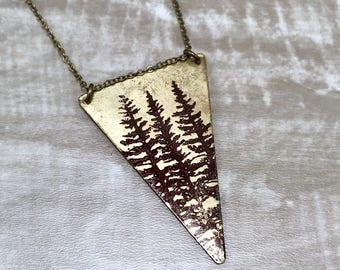 Necklace REVERSIBLE Triangle with Dark Side of the Moon / Pine Tree Print Raw Brass