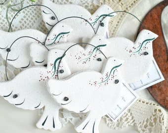 Dove Wedding / Baptism Gifts Salt Dough Ornaments Set of 6 Napkin Ring Favors