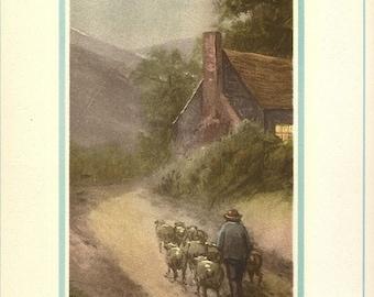 Just Around the Corner Home Bound Vintage Art Print, Aquatint, 1930's