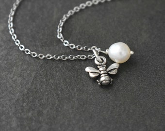 Honey Bee Pearl Necklace, Tiny Bee Necklace, Honey Bee, Bee Pendant, Bee Jewelry, Silver Bee Charm, Pearl necklace, Bridesmaids Necklace