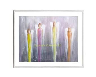 Feng Shui Angels Print from my Original Painting, Spiritual Art, Feng Shui Art, Healing Art, Art & Collectibles