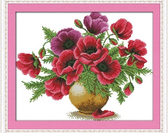 Free shipping Poppy flower vase Counted Cross Stitch 11CT Printed 14CT Cross Stitch DIY  Cotton Cross-stitch Kit Embroidery Needlework H323