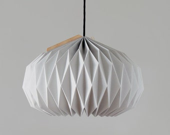 Textile Lampshade * Bell * In light grey, hand-folded origami lamp shade