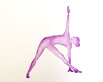 Yoga art | Original | Triangle | trikonasana | Purple | Watercolour Painting