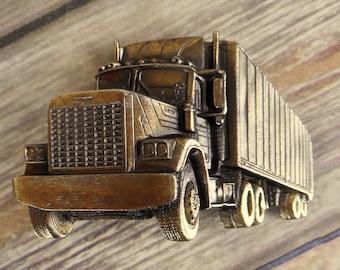 Semi Truck Belt Buckle Trucker 18 Wheeler Vintage 1980 Western Asphalt Cowboy
